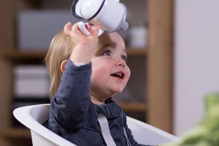 Krzesełko, krzesło do karmienia niemowląt i małych dzieci Up&Down grey/white, 6m+ Beaba