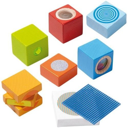 Drewniane klocki optyczne, edukacyjne - optyczna zabawa dla dzieci, 12m+, HABA