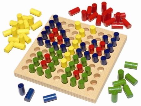 Drewniana układanka - mozaika, kolorowe obrazki, kołki, 2 lata+, HABA