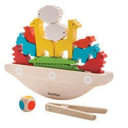 Drewniana balansująca łódka - balansująca układanka zręcznościowa dla dzieci, Plan Toys