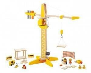 Drewniany dźwig - plac budowy z ruchomym dźwigiem i magnetycznymi częściami, 28 el., duży zestaw, SEVI
