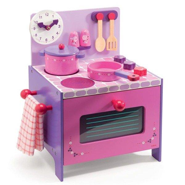 Drewniana kuchenka dla dzieci  kuchnia do zabawy z akcesoriami, DJECO Fiolet   -> Ikea Kuchnia Dla Dzieci Drewniana