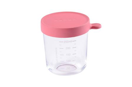 Beaba Pojemnik słoiczek szklany z hermetycznym zamknięciem 250 ml dark pink
