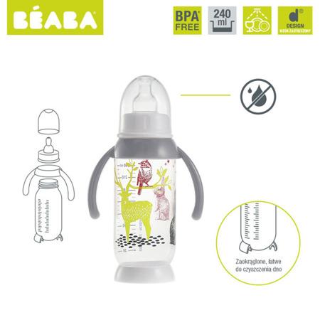 Butelka do mleka dla niemowląt antykolkowa z uchwytem 240ml Bunny grey, BEABA