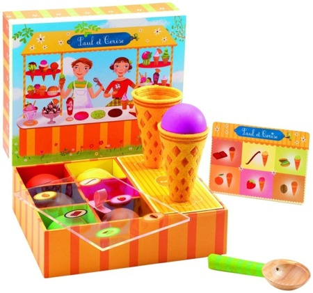 Drewniana lodziarnia rożki - zestaw do lodów dla dzieci, do kuchni, cukierni, DJECO