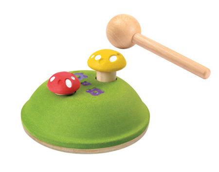 Drewniana przebijanka grzybki - zabawka do przebijania dla dzieci, Plan Toys