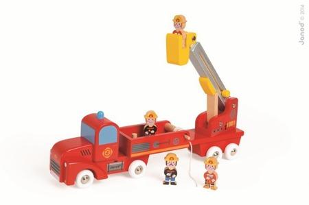 Drewniana straż pożarna z czterema strażakami - duży zestaw, Janod