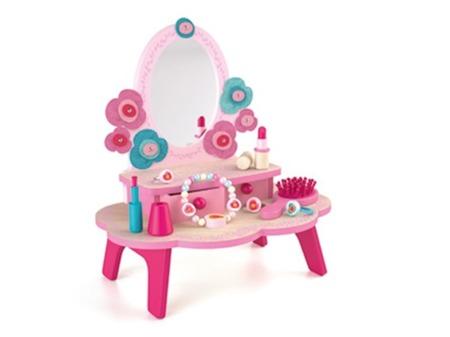 Drewniana toaletka dla dziewczynki - różowa toaletka i akcesoria, DJECO DJ06553