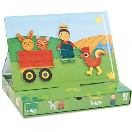 Drewniana układanka magnetyczna FARMA, zwierzęta na wsi - CREAMAGNET w walizce,80 el. VILAC