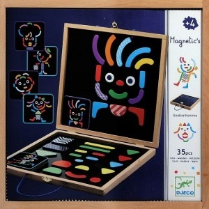 Drewniana układanka magnetyczna Geocharacter - układanka figury geometryczne + karty, Djeco