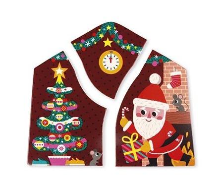 Drewniana układanka warstwowa Święta Bożego Narodzenia - choinka, Mikołaj, dzieci, JANOD J07020