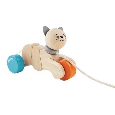 Drewniana zabawka do ciągnięcia - kot do ciągnięcia na sznurku Plan Toys, PLTO-5435