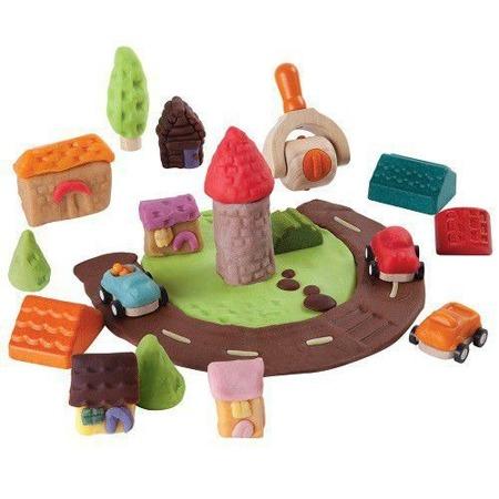 Drewniane akcesoria do ciastoliny, masy solnej - ciastolinowe miasto, auta, Plan Toys