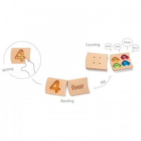 Drewniane cyferki do nauki liczenia - cyfry wraz z obrazkami dla dzieci, Plan Toys