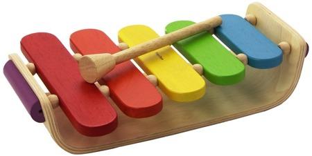 Drewniane cymbałki - 5 klawiszowy ksylofon z drewna z pałeczką do grania, Plan Toys