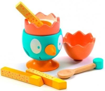 Drewniane jajko do zabawy - jajko na miękko dla dzieci do śniadania, DJECO