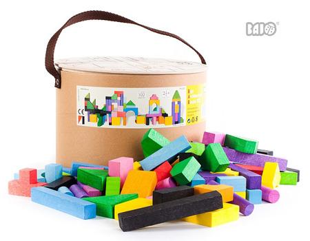 Drewniane klocki w pudełku - zestaw 102 klocków, wielkie pudło, BAJO