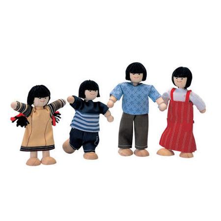 Drewniane lalki do domku dla lalek - rodzina skośnookich lalek, Plan Toys PLTO-7417
