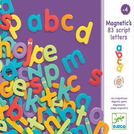 Drewniane literki magnetyczne dla dzieci - litery do nauki alfabetu DJECO DJ03102