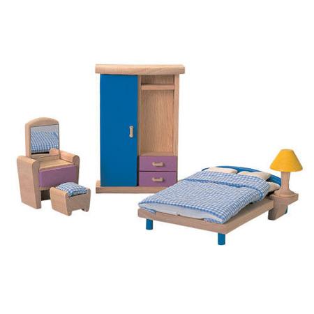 Drewniane mebelki dla lalek Sypialnia Neo - mebelki do domku dla lalek, Plan Toys