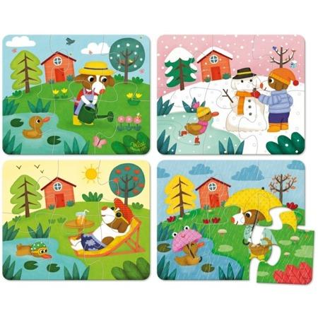 Drewniane puzzle 4 pory roku - cztery obrazki z porami roku, 4x6 el., 2 lata +, VILAC