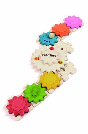 Drewniane puzzle koła zębate (deluxe), Plan Toys