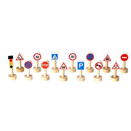 Drewniane znaki drogowe i światła do zabawy dla dzieci - 14 elementów, Plan Toys