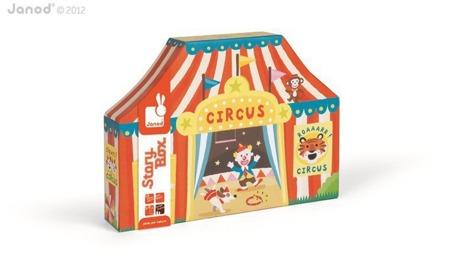 Drewniany cyrk: zwierzęta, pojazdy i akcesoria - zestaw 23 elementów STORY BOX, Janod