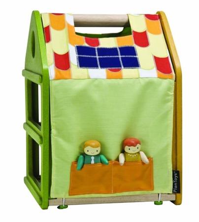 Drewniany domek dla lalek z matą do zabawy Plan Toys - trzypiętrowy domek + laleczki + mebelki