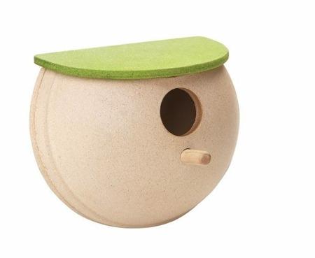 Drewniany domek dla ptaków z daszkiem - ogrodowy karmik dla ptaszków Plan Toys
