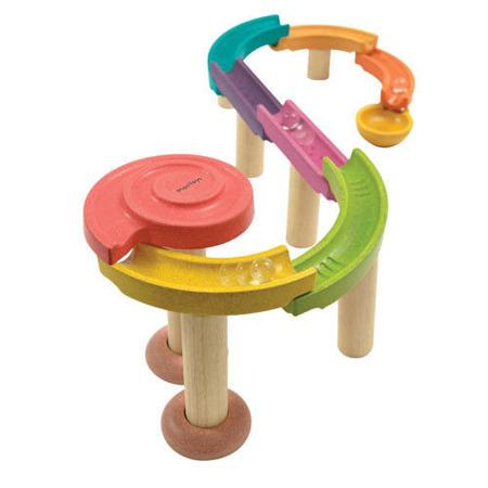 Drewniany kolorowy tor kulkowy (standard) - kulodrom zestaw 20 części, Plan Toys