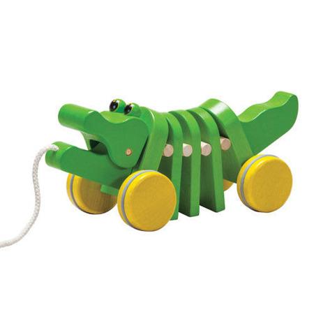 Drewniany krokodyl na sznurku do ciągnięcia - zielony aligator, Plan Toys