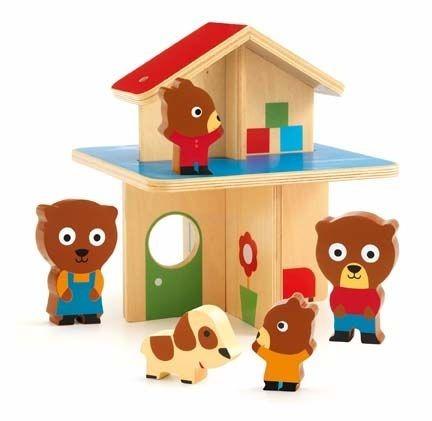 Drewniany mini domek dla misiów, zabawa w dom dla maluszków, DJECO