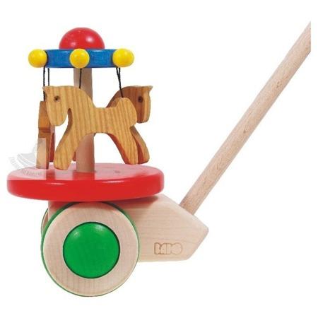 Drewniany pchacz dla dzieci - karuzela koniki, Koniki do pchania, BAJO