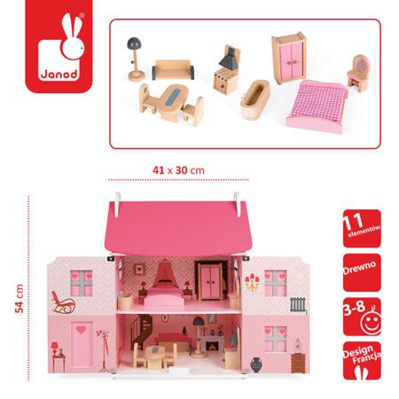 Drewniany piętrowy domek dla lalek z akcesoriami (11 meblami), 54 cm wysokości, otwierane drzwi, JANOD