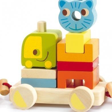 Drewniany pociąg ze zwierzątkami + klocki 18m+, DJECO DJ06315