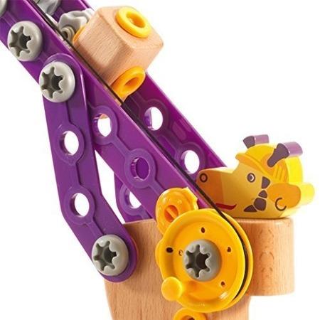 Drewniany skręcany dźwig Żyrafa - dźwig do skręcania z serii ZooBlock, Djeco