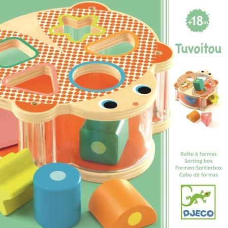 Drewniany sorter figur / kształtów dla dzieci + klocki, sorter w kształcie żółwia DJECO DJ06413 N
