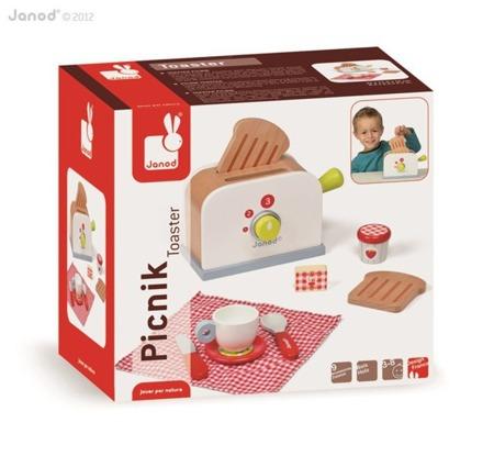 Drewniany toster z 9 akcesoriami - zestaw śniadaniowy dla dzieci, Janod