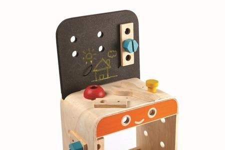 Drewniany warsztat, stolik warsztatowy - narzędzia majsterkowicza, Plan Toys