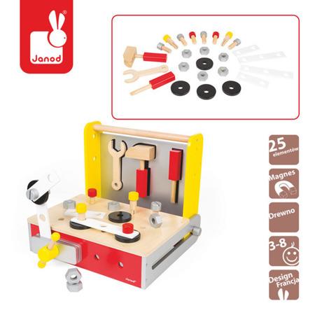 Drewniany warsztat z narzędziami - składany warsztat z narzędziami w walizce Bricolo, Janod
