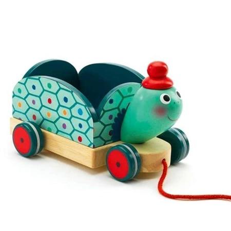 Drewniany wózek - żółw do ciągnięcia na sznurku DJECO, DJ06250