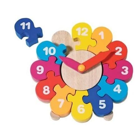Drewniany zegar do nauki godzin - puzzle która godzina, GOKI