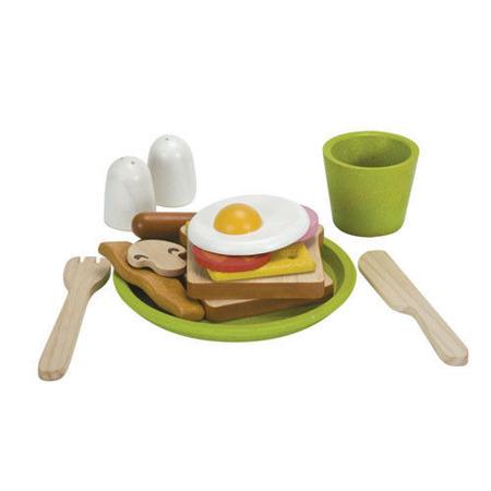 Drewniany zestaw śniadaniowy - zestaw do zabawy w gotowanie i sklep, Plan Toys
