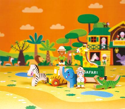 Dzikie zwierzęta zestaw drewniany 8 elementów kolekcja  Story, Janod