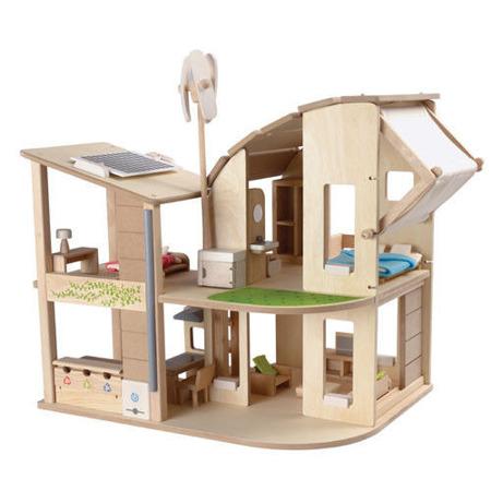 Ekologiczny domek dla lalek z mebelkami Plan Toys - duży, piętrowy i drewniany domek dla lalek