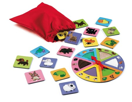 Gra edukacyjna Lotto dotykowe ruletka sensoryczna, zwierzaki, 3 lata +, DJECO