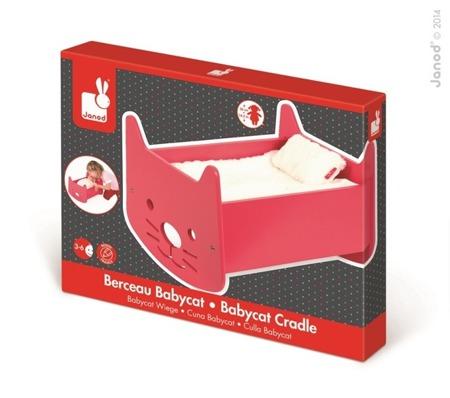 Kołyska dla lalek Babycat - różowe łóżeczko dla lalki lub misia, JANOD J05897