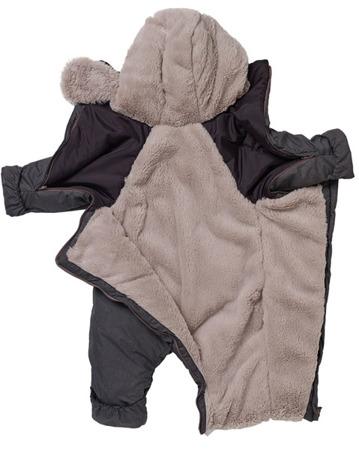 Kombinezon zimowy ocieplany z kapturem dla niemowlaka 6 - 12 m, Combi T-ZIP 6-12m Heather Grey Red Castle