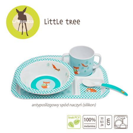 Komplet naczyń z melaminy dla dzieci - zestaw Little Tree Lis, Lassig